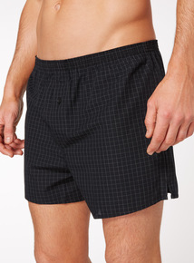 3 Pack Black and Grey Check Woven Boxers