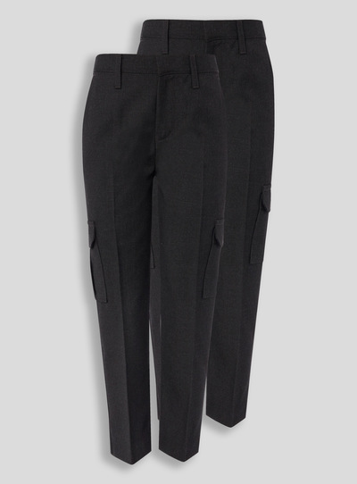 Charcoal Cargo Trousers 2 Pack (3-12 Years)