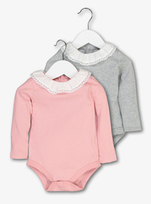 Multicoloured Lace Collared Bodysuits 2 Pack (0-24 Months)