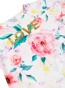 Multicoloured Love Floral Top (3-14 years)