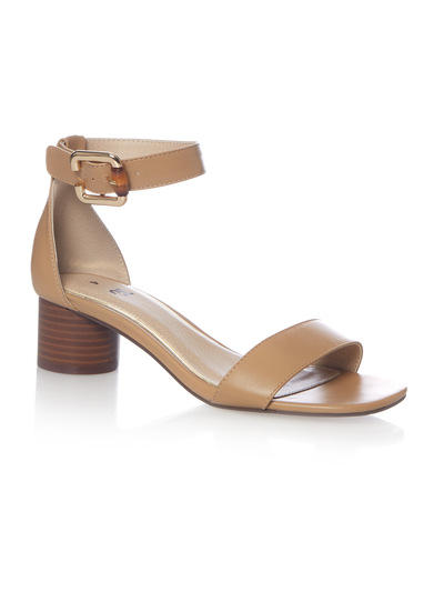 Nude Two Part Cylinder Heel Sandals