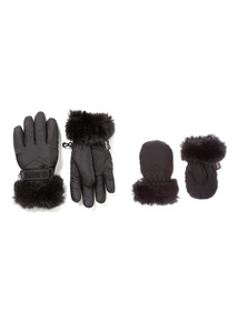 Black Thinsulate Faux Fur Cuff Snow Gloves (1-12 years)