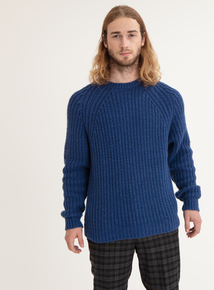 GFW Indigo Blue Crew Neck Chunky Knit Jumper