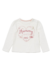 White 'Mummy Loves Me' Long Sleeve Top (0-24 months)