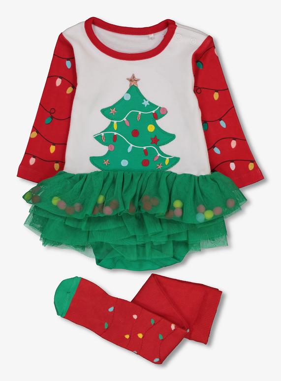 Toddler Christmas Tree.Sku Aw18 Ph2 Xmas Tree Tutu Bodysuit Multi Coloured
