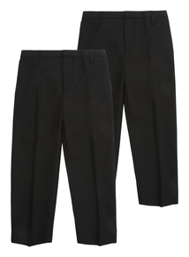 Boys Black Woven Generous Fit Trousers 2 Pack (3-12 years)