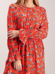 Red Wild Cats Print Tea Dress