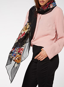 Multicoloured Square Floral Print Scarf