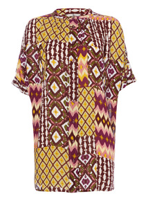 Multicoloured Patterned Oversized Shirt