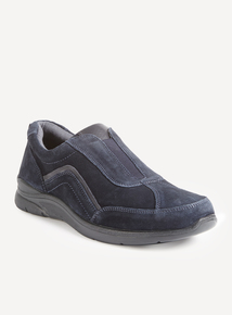 Navy Suede Slip-on Shoes