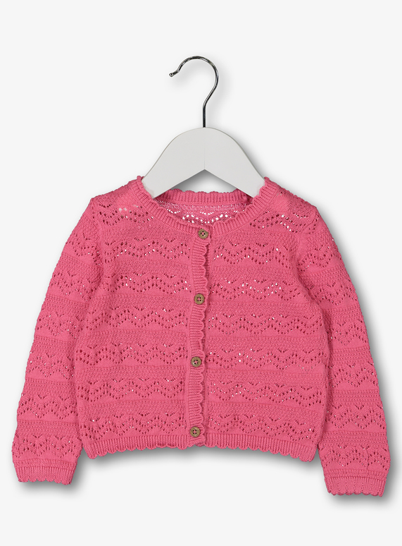 b1af6ffbe1 Baby Pink Pointelle Cardigan (0-24 Months)