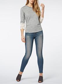 Grey Striped Lace Cuff Top