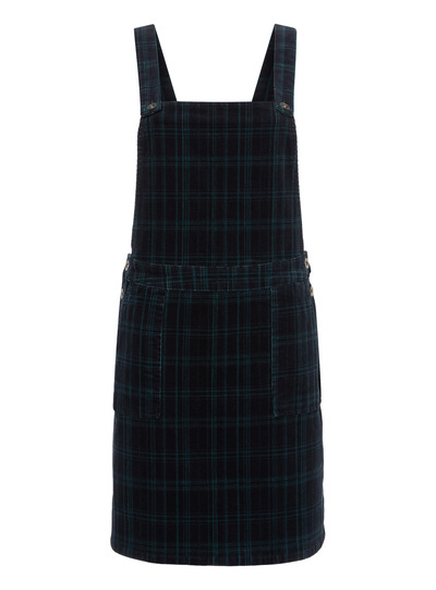 Navy Check Pinafore Dress