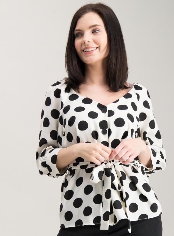 0a393fb6699435 Womens PETITE Monochrome Vintage Spot Print Blouse