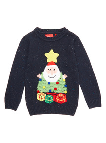 Blue Christmas Santa Tree Jumper (9 months - 5 years)