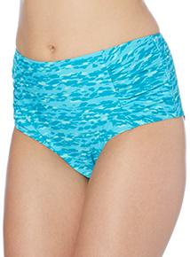 Turquoise Animal Print High Waisted Bikini Briefs
