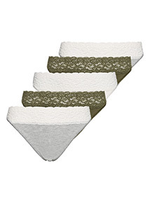 5 Pack Green and Grey Comfort Lace High Leg Briefs