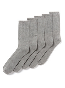 5 Pack Grey Sports Socks