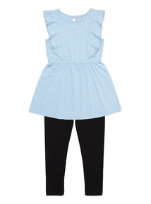 Girls Blue Jersey And Leggings Set (3 - 12 years)