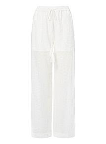 White Schiffli Trousers