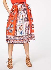 Red Pattern Skirt