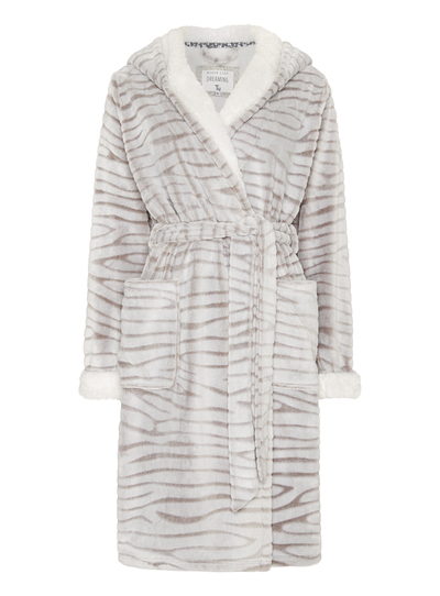 Womens Grey Zebra Print Dressing Gown Tu Clothing