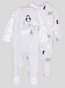 Grey Penguin Sleepsuit 2 Pack (Newborn - 12 months)