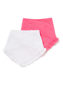 2 Pack White and Pink Woven Hanky Bibs
