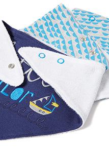 2 Pack Blue Sailor Hanky Bibs