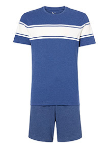 Navy Striped T-Shirt and Shorts Pyjama Set