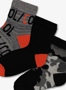 Monochrome Camouflage Socks 5 Pack (3 Infant -6.5 Adult)