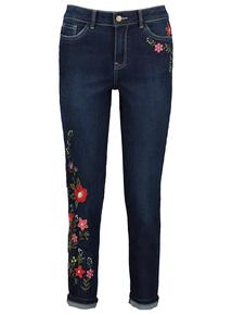 Dark Denim Embroidered Girlfriend Jeans