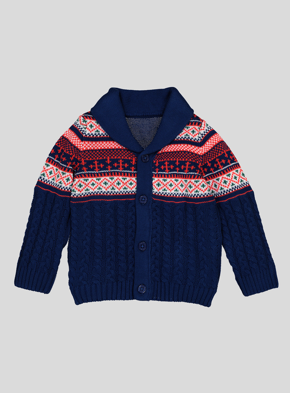 bd16ae791 Baby Navy Cable Knit Fairisle Design Cardigan (0-24 Months)