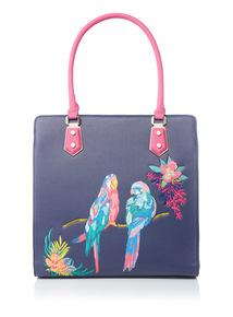 Tropical Parrot Printed Shopper Bag