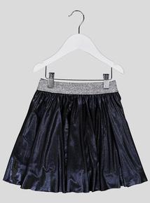 Black Wet Look Skater Skirt (3-14 years)