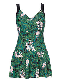 Leaf Print Swim Dress