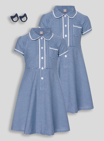 Navy Classic Gingham Dress With Bobble 2 Pack (3 - 12 years)