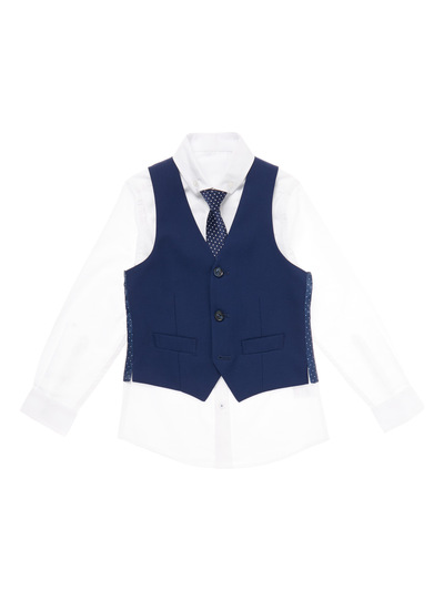 Navy Occasion Shirt With Waistcoat And Tie (3-14 years)