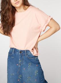 PETITE Pink Frill T-Shirt