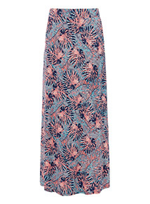 Multicoloured Palm Print Maxi Skirt