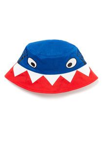 Multicoloured Novelty Shark Print Bucket Hat (1-9 years)
