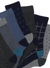 Blue & Grey Stay Fresh Socks 7 Pack