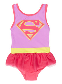 Girls Multicoloured Supergirl Swimsuit (1 - 8 years)