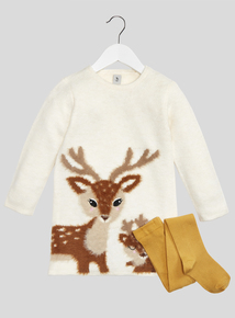 Cream Deer Jumper Dress & Tights (9 months - 6 years)