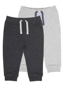 Boys Grey Marl Jogging Bottoms 2 Pack (0-24 months)