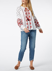 Voodoo Embroidered Sleeve Top