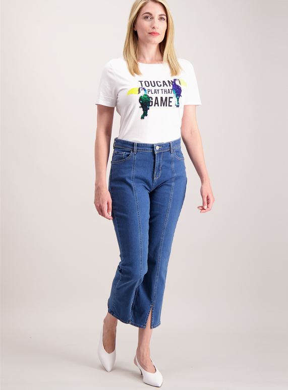 Denim Split Front Culotte