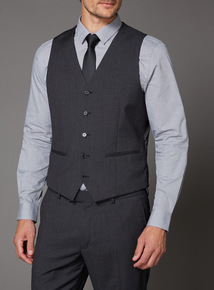 Charcoal Mini Dogtooth Suit Waistcoat