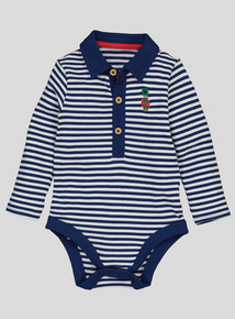 Navy Stripe Polo Shirt Bodysuit (0-24 Months)