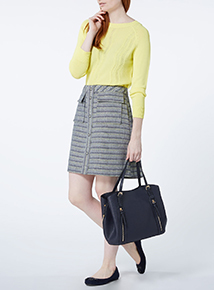 Multicoloured Textured A Line Skirt